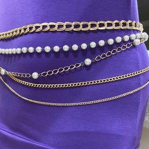 Accessories - Gold Metal Pearl Chain High Waist Belt & Necklace